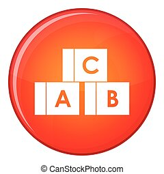 Alphabet cubes with letters A,B,C icon, flat style