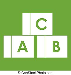 Alphabet cubes with letters A,B,C icon green