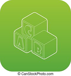 Alphabet cubes with letters A,B,C icon green vector