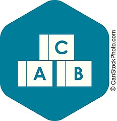 Alphabet cubes with letters A,B,C icon