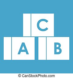Alphabet cubes with letters A,B,C icon white