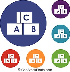 Alphabet cubes with letters A,B,C icons set