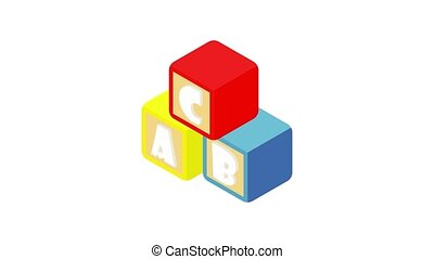 Alphabet cubes with letters icon animation