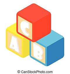 Alphabet cubes with letters icon, cartoon style
