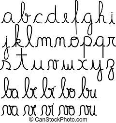 alphabet, cursif