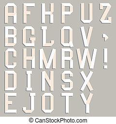 Alphabet cut out of paper.