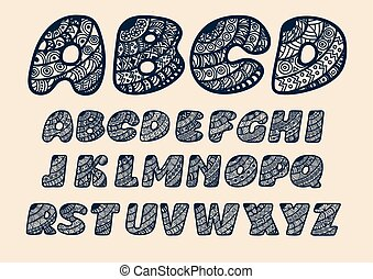 Alphabet cut out of paper.