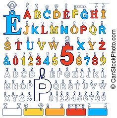 Alphabet design elements and number tags on hooks