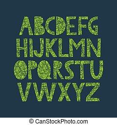 alphabet, dessiné, organique, texture, main