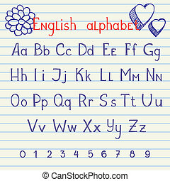 alphabet, dessin, anglaise