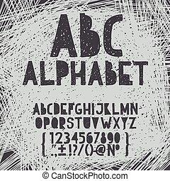 alphabet, dessiner, grunge, abc, griffonnage, illustration, main, craie, vecteur, égratignure, police, type