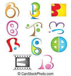 alphabet, différent, b, icône