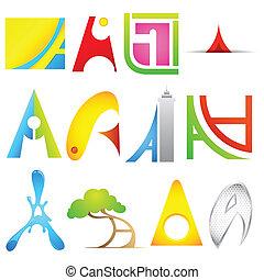 alphabet, différent, icône