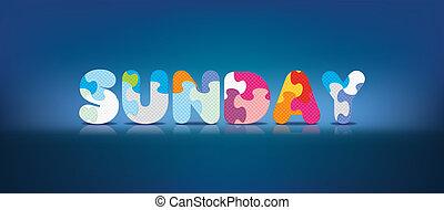 alphabet, dimanche, puzzle, écrit