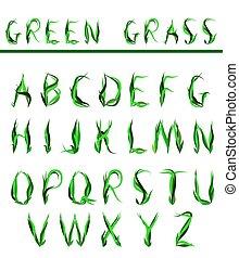 alphabet, draw letters of green bla