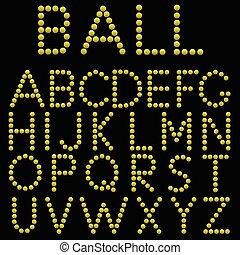 Alphabet - Yellow balls alphabet on the black background....