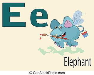 alphabet, e, animal