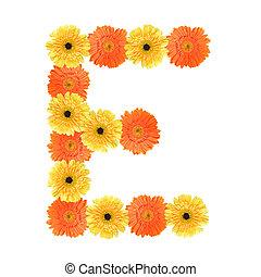 Alphabet E created by flower