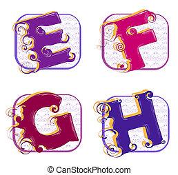 alphabet e, f, g, h