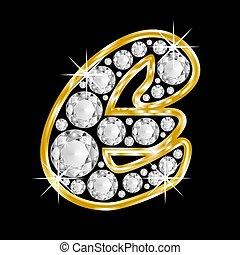 alphabet, e, gold, brief, gerahmt