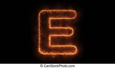 Alphabet E Word Hot Animated Burning Realistic Fire Flame ...