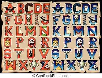 alphabet, ensemble, halloween, lettres