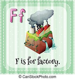 Alphabet F - Flashcard letter F is for factory