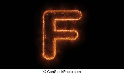 Alphabet F Word Hot Animated Burning Realistic Fire Flame ...