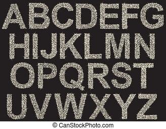 alphabet, fait, étincelant, briller