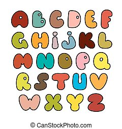 alphabet, fait, dessiné, vector., main