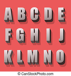 alphabet, farbe, retro stil, zahlen