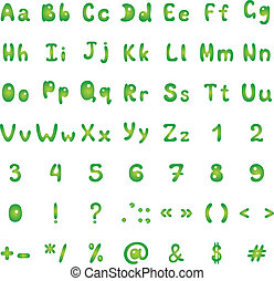 Alphabet, figures and signs, green on white background. Vector