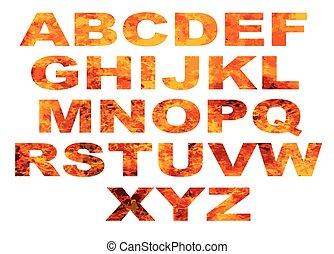alphabet, flamme, lettres
