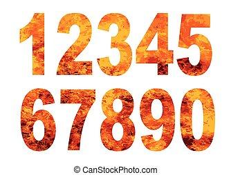 alphabet, flamme, nombres
