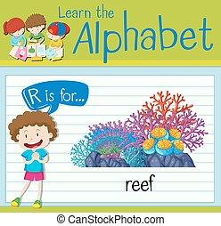 alphabet, flashcard, récif, r