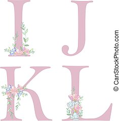 alphabet, fleur, c., lettre