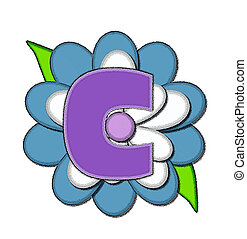 Alphabet Flower Pin Blue C
