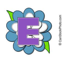 Alphabet Flower Pin Blue E