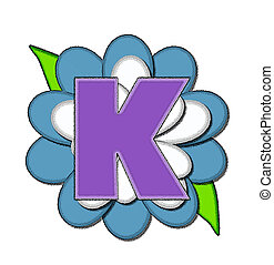 Alphabet Flower Pin Blue K