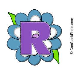Alphabet Flower Pin Blue R