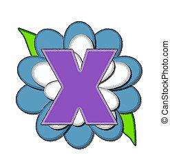 Alphabet Flower Pin Blue X