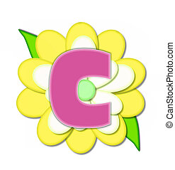 Alphabet Flower Pin Yellow C