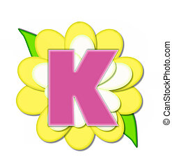 Alphabet Flower Pin Yellow K