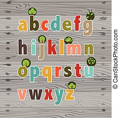 alphabet., flowers., vecteur, lettres