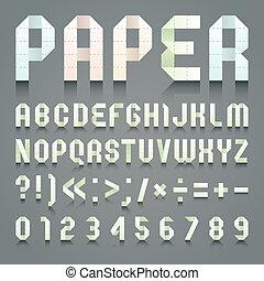 Alphabet folded of toilet green paper