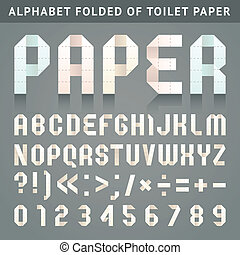 Alphabet folded of toilet paper