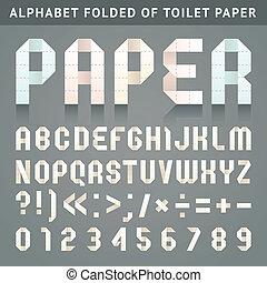 Alphabet folded of toilet paper