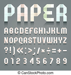 Alphabet folded of toilet pink paper. Roman alphabet & Arabic blue numerals (A, B, C, D, E, F, G, H, I, J, K, L, M, N, O, P, Q, R, S, T, U, V, W, X, Y, Z, 0, 1, 2, 3, 4, 5, 6, 7, 8, 9).
