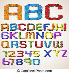 Alphabet folded scribble tape