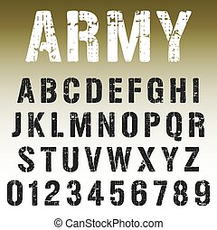 Alphabet font army stamp design